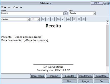 Biblioteca HiDoctor® - criação de texto