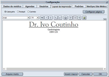 HiDoctor® - Configuração de cabeçalho
