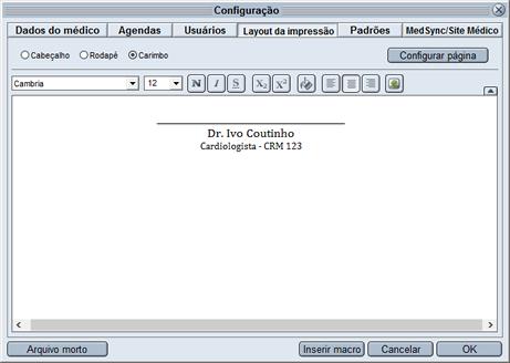 HiDoctor® - Configuração de carimbo