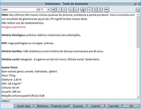 HiDoctor® - Edição de textos prontuário