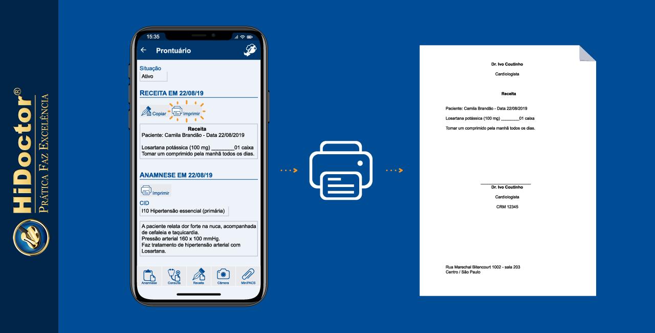 Impressão de textos do prontuário através do HiDoctor® Mobile